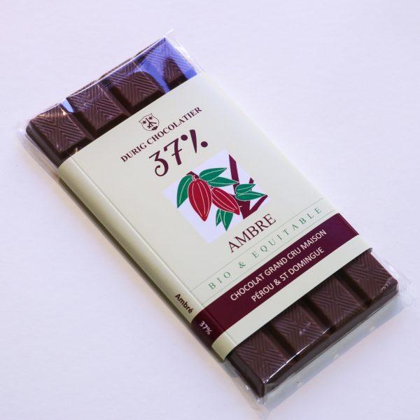 Durig Chocolatier Lausanne - Chocolat bio et équitable ambré 37%
