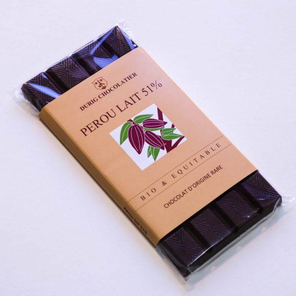 Durig Chocolatier - Chocolat bio et équitable perou lait 51%