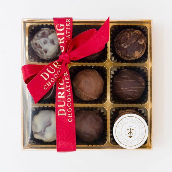 DURIG - Boîtes de chocolats - Boîte de 9 truffes au chocolat bio