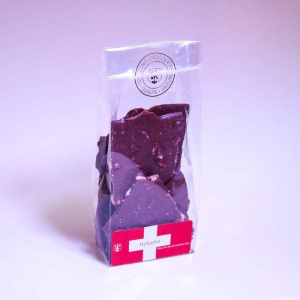 Swiss Organic milk chocolate and hazelnut shards