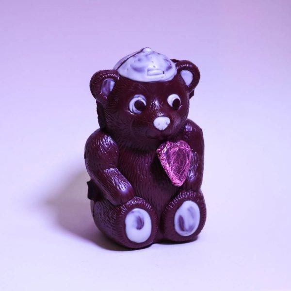 Ours avec casquette en chocolat bio et équitable