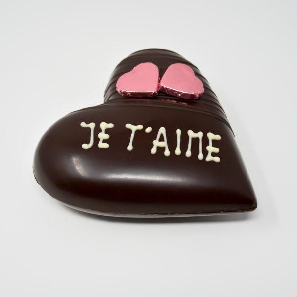 coeur chocolat noir bio et équitable - je t'aime